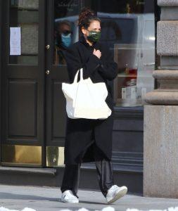 Katie Holmes Dresses Up Her Pajamas in a Cozy Coat, Sleek Sneakers & the Silkiest Pants